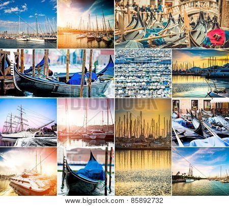 photo collage of ships and small boats at the marina