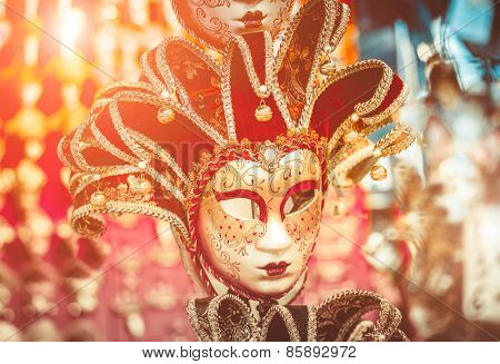 Venetian masks on the marke in Venice, Italy