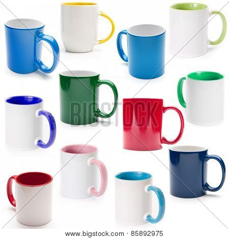 cups on a white background isolated