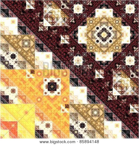Abstract Symmetrical fractal square colorful Pattern
