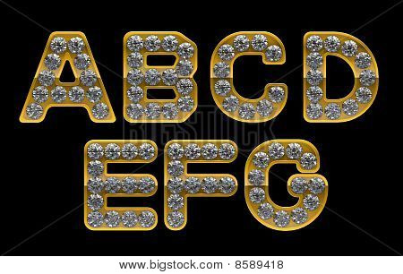 Golden A, B, C, D, E, F, G Letters Incrusted With Diamonds