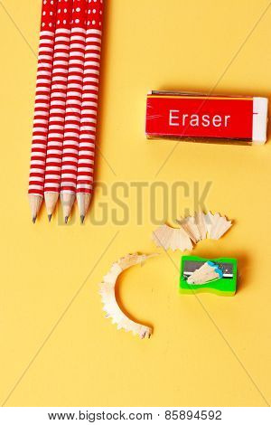Erasure Sharpener And Pencils