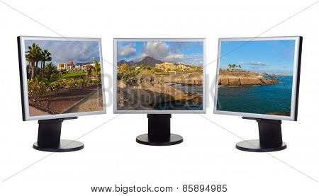 Tenerife island (Canary) in computer screens isolated on white background