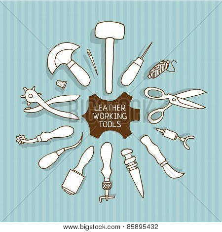 Hand drawn Leather working tools vector illustration