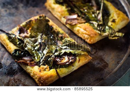 Baked Beet Greens And Feta Tart With Honey Glaze