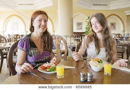 Two Girls Having Lunch