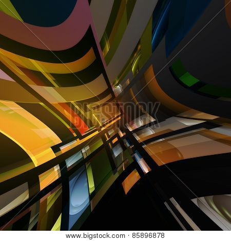 3D illustration with abstract of geometric shapes