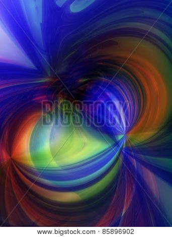 3D illustration of abstract with multi colored shapes
