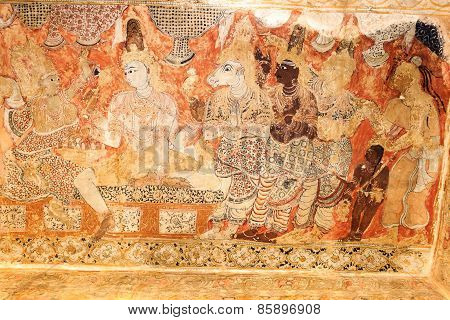 Faded paintings on the walls of Veerabhadra temple, Lepakshi, Andhra Pradesh, India