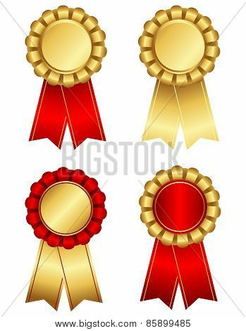 Award Ribbon Rosette In Gold And Red