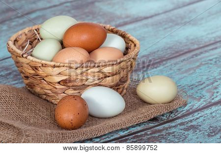 Fresh Chicken Eggs In A Basket