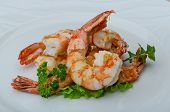 picture of tiger prawn  - Roasted Tiger shrimps cocktail with herbs and spices - JPG