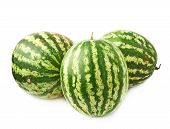 picture of watermelon  - Green watermelon fruit composition isolated over the white background - JPG