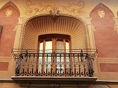 image of mural  - beautiful old italian window with balcony and mural plaster wall  - JPG