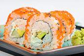 image of masago  - California maki sushi with masago - JPG