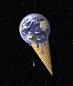 picture of environmental conservation  - Earth in the Shape of the Ice Cream symbolizing Global Warming  - JPG