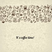 pic of latte coffee  - doodle coffee and tea seamless background - JPG
