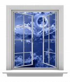pic of moonlit  - White window against an empty background - JPG
