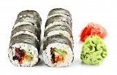 stock photo of sushi  - Vegetarian sushi rolls isolated on white - JPG