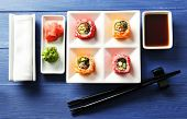 stock photo of soy sauce  - Sushi rolls on plate - JPG