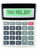 picture of calculator  - Calculator with TAX RELIEF on display on white background - JPG
