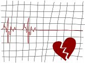 stock photo of lifeline  - Broken heart and the lifeline  - JPG