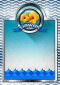 stock photo of hawaiian flower  - Vertical signboard with metal frame round metal icon with blue ribbon and text Hawaii and two orange hibiscus flowers - JPG