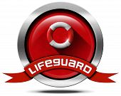 pic of lifeguard  - Round metal icon with red and white lifebuoy on red velvet background and red ribbon with text lifeguard - JPG