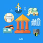 stock photo of million-dollar  - Bank office symbol with ATM dollars tree and cards icon - JPG