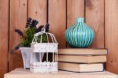 stock photo of caged  - Interior design with decorative vase - JPG