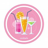 image of cocktail  - Cocktail drink fruit juice in flat design style - JPG
