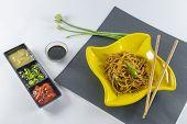 stock photo of vinegar  - Noodles with chopsticks  - JPG