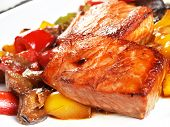 picture of marinade  - Grilled salmon marinated in Teriyaki sauce and with vegetables stewed in the marinade - JPG