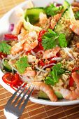 foto of cilantro  - Asian salad with rice noodles shrimps peanuts peppers cucumber and cilantro - JPG