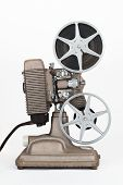 pic of mm  - Side view of Vintage 8 mm Movie Projector with Film Reels - JPG