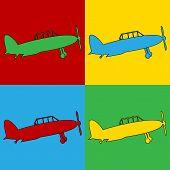 picture of aeroplane symbol  - Pop art retro military airplane symbol icons - JPG