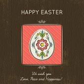 stock photo of easter card  - Hand painted easter egg in the red square - JPG