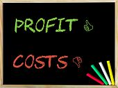 foto of profit  - Costs and Unlike sign versus Profit and Like sign - JPG