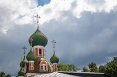 image of cupola  - Green cupolas of the Alexandr Nevsky church in Pereslavl - JPG