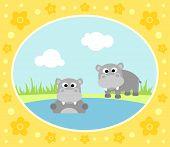 picture of hippopotamus  - Safari background card with wild two hippopotamus - JPG