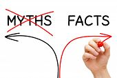 stock photo of trustworthiness  - Hand drawing Myths or Facts arrows concept with marker on transparent wipe board - JPG