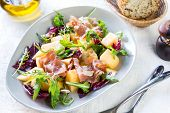 image of rocket salad  - Prosciutto with rocket cantaloupe and radicchio salad - JPG