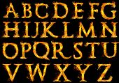 pic of flames  - Capital letters of the alphabet with fire flames - JPG