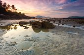 picture of tide  - beautiful sunrise at the tropical andaman sea during tide - JPG