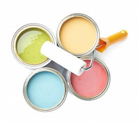 pic of drop oil  - Paint roller over the opened cans of paint - JPG