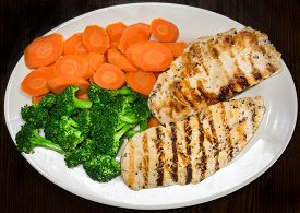 foto of steam  - Two pieces of grilled chicken breast - JPG