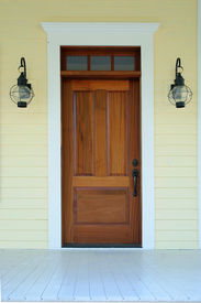 image of windows doors  - Front entrance detail with door and lanterns - JPG