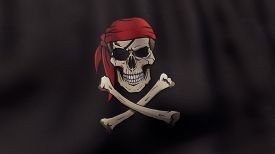 pic of pirates  - A 3D rendered still of a Jolly Roger pirate flag with bandana and eyepatch - JPG