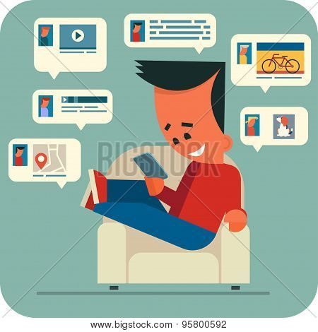 Young man online chatting.