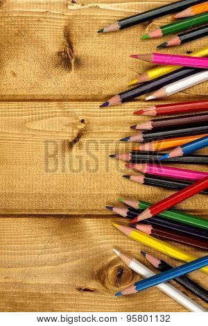 Pencil Crayon border on wood